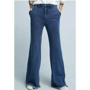 Anthropologie Denim Effect Knit Wide Leg Trousers